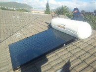 solar gyeser with solar collector on roof